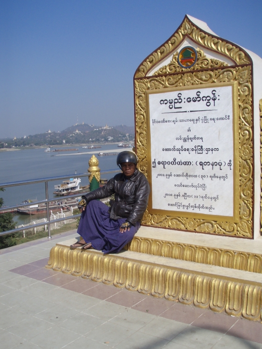 My friend and trusted motorbike taxi driver Ko Aung on bridge near Sagaing outside Mandalay