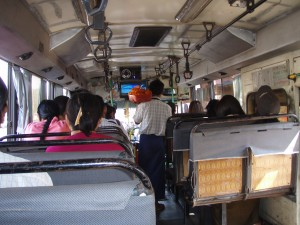 The rickety (and very cheap) bus from Yangon to Bago