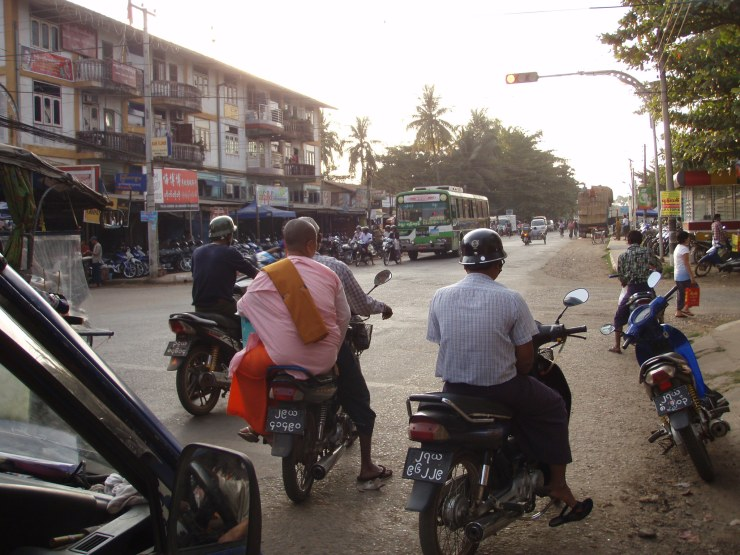 Everybody--nuns included--zips around Bago on motorbikes.