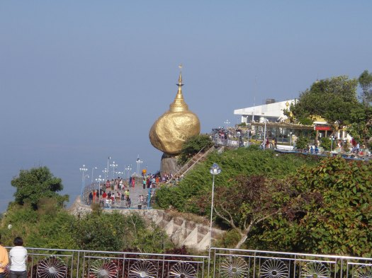 The pagoda at Golden Rock appears to defy gravity